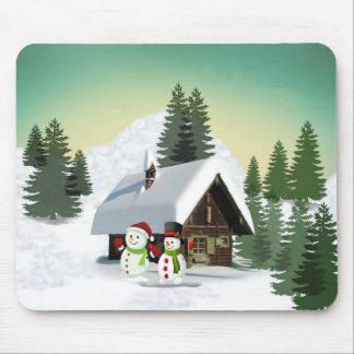 Christmas Snowman Scene Mouse Pad