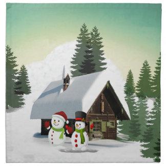 Christmas Snowman Scene Napkin