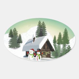 Christmas Snowman Scene Oval Sticker