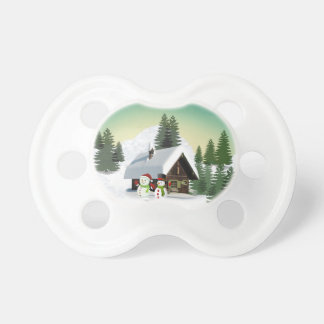 Christmas Snowman Scene Pacifier