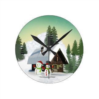 Christmas Snowman Scene Round Clock