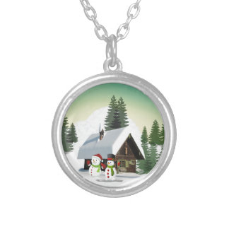 Christmas Snowman Scene Silver Plated Necklace