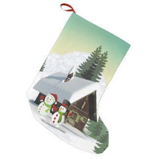 Christmas Snowman Scene Small Christmas Stocking