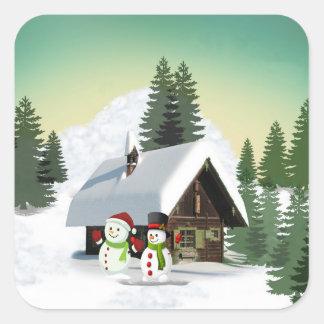 Christmas Snowman Scene Square Sticker