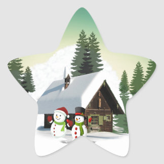 Christmas Snowman Scene Star Sticker