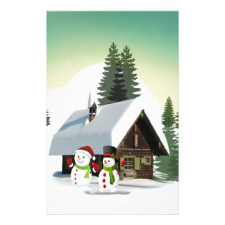 Christmas Snowman Scene Stationery