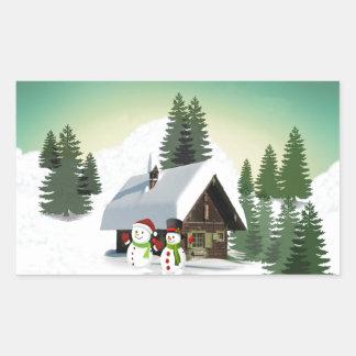 Christmas Snowman Scene Sticker