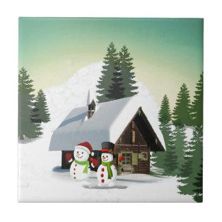 Christmas Snowman Scene Tile