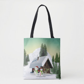 Christmas Snowman Scene Tote Bag