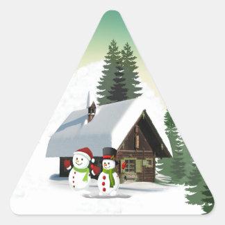 Christmas Snowman Scene Triangle Sticker