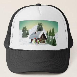 Christmas Snowman Scene Trucker Hat