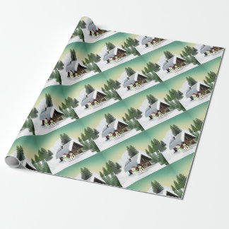 Christmas Snowman Scene Wrapping Paper