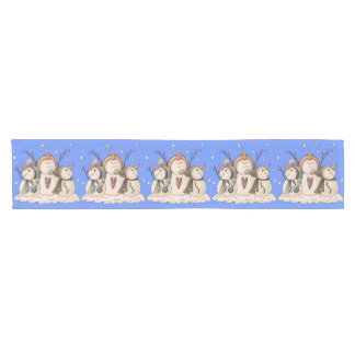 Christmas Snowman Snowflake Country Primitive Short Table Runner