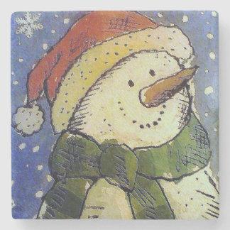 Christmas Snowman Stone Coaster