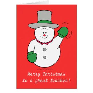 Christmas Snowman Teacher's Card