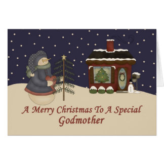 Christmas Snowman To A Special Godmother Card