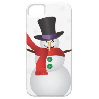 Christmas Snowman with Snowflakes Illustration Case For The iPhone 5