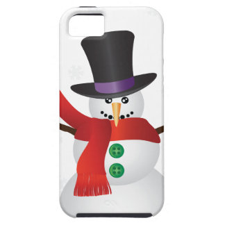 Christmas Snowman with Snowflakes Illustration iPhone 5 Case