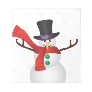 Christmas Snowman with Snowflakes Illustration Notepad