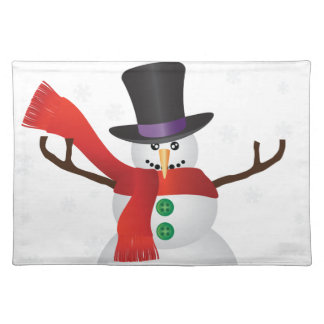Christmas Snowman with Snowflakes Illustration Placemat