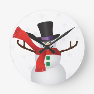 Christmas Snowman with Snowflakes Illustration Round Clock
