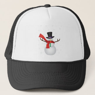 Christmas Snowman with Snowflakes Illustration Trucker Hat