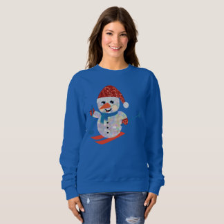 christmas snowman womens sweatshirt