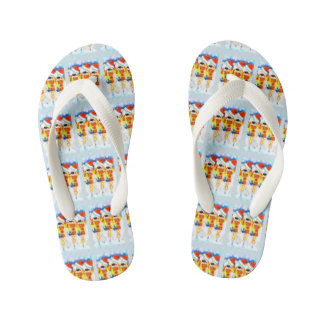 Christmas snowmen kid's flip flops