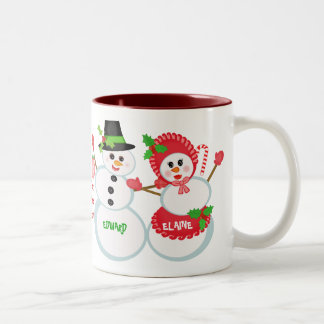 Christmas Snowmen Love Glass Coffee Mug