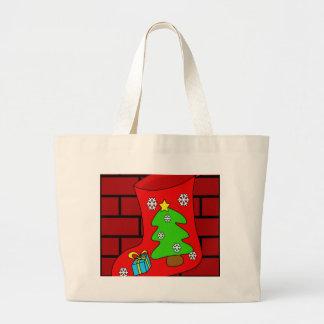 Christmas sock 2 large tote bag
