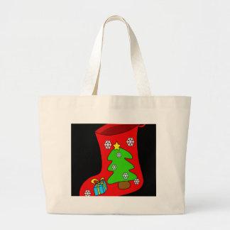 Christmas sock large tote bag