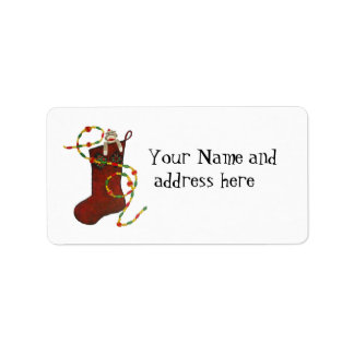 Christmas sock monkey Address Label
