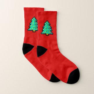 Christmas socks - decorated 8 bit pixel art tree 1