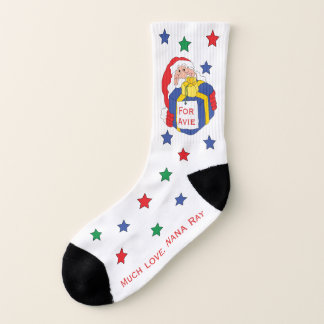 "Christmas Socks ""Santa Present"" Personalize 1"
