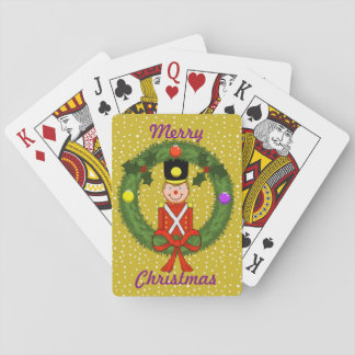 Christmas Soldiers in Wreath Playing Cards