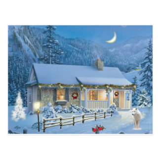 Christmas solitude Winter Cottage Postcard