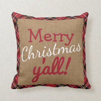 Christmas Southern Y'All Plaid Burlap Pillow