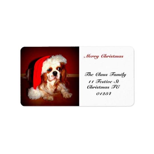 Christmas  Spaniel Self Addressed Label