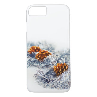 Christmas Sparkling Decorations Pine Cones White iPhone 8/7 Case