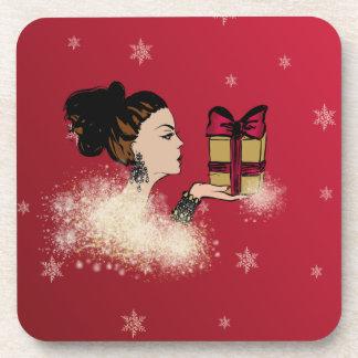 christmas sparkling fashion illustration coaster