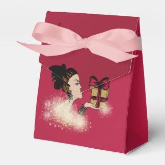 christmas sparkling fashion illustration favor box