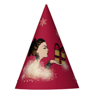 christmas sparkling fashion illustration party hat