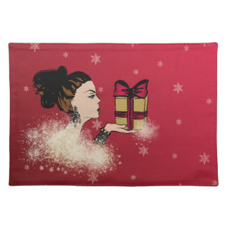 christmas sparkling fashion illustration placemat