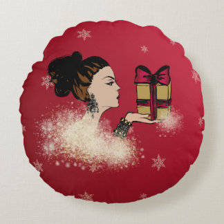 christmas sparkling fashion illustration round pillow