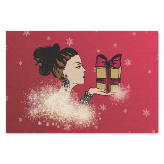 christmas sparkling fashion illustration tissue paper