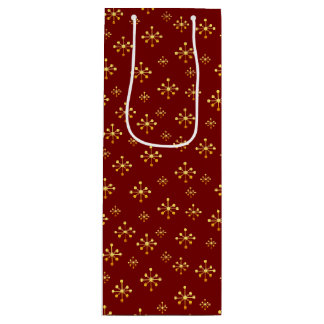Christmas Special Golden Snowflakes Wine Gift Bag