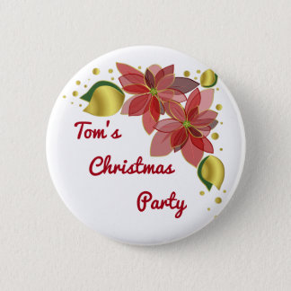 Christmas Spirit Poinsettia flowers Holiday Button