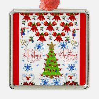 Christmas square premium ornament white