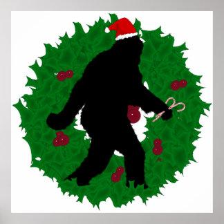 Christmas Squatchin' Wreath Poster