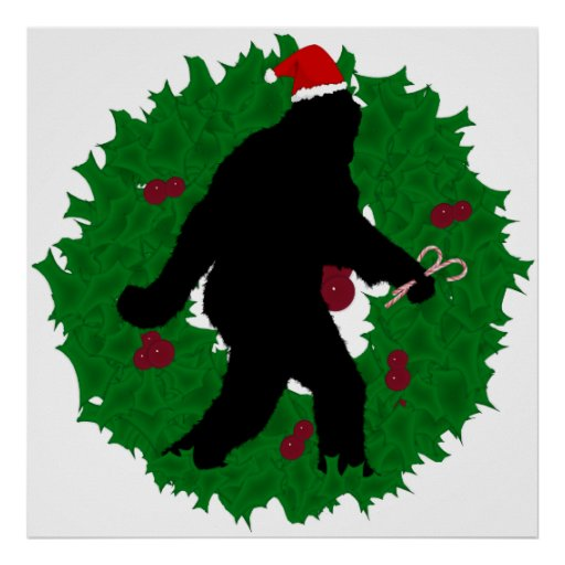 Christmas Squatchin' Wreath Poster